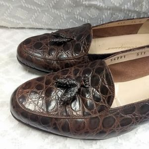 7.5 C Salvatore Ferragamo Brown Crocodile Loafer
